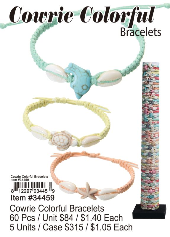 Cowrie Colorful Bracetes - 60 Pieces Unit