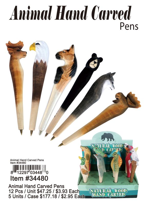Animal Hand Carved Pens - 12 Pieces Unit