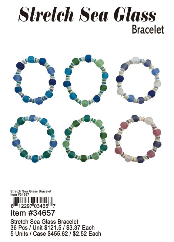 Stretch Sea Glass Bracelets - 36 Pieces Unit