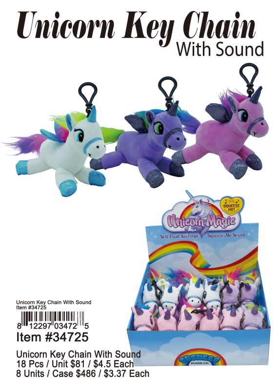 Unicorn Key Chain With Sound - 18 Pieces Unit