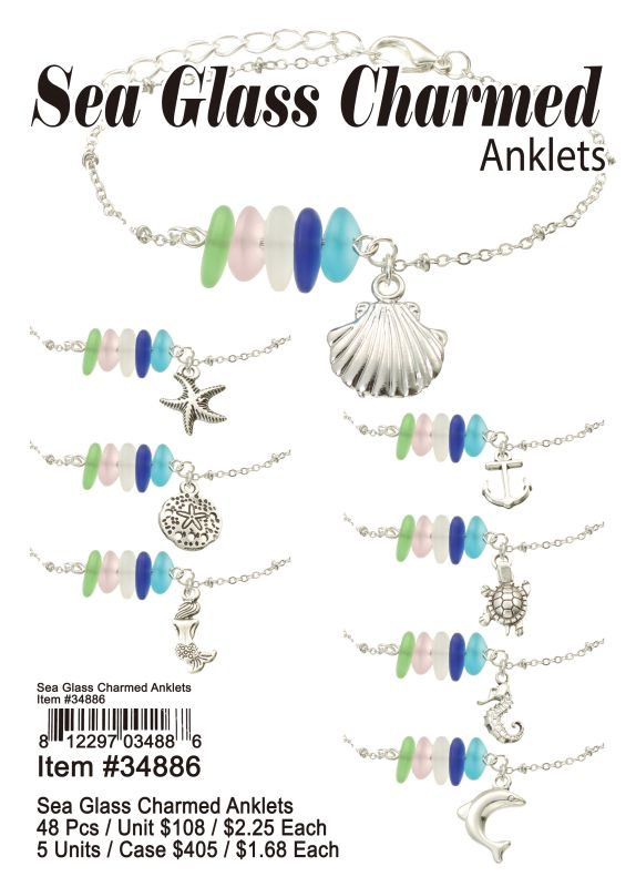 Sea Glass Charmed Anklets - 48 Pieces Unit