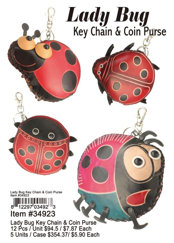 Lady Bug Key Chain & Coin Purse - 12 Pieces Unit