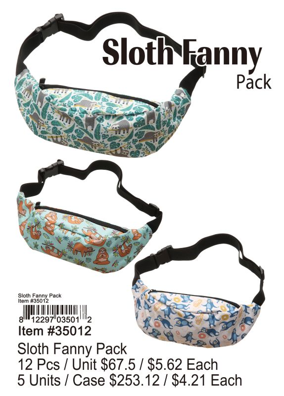 Sloth Fanny Pack - 12 Pieces Unit