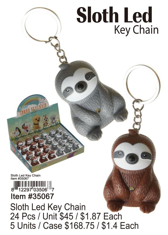Sloth Led Key Chain - 24 Pieces Unit