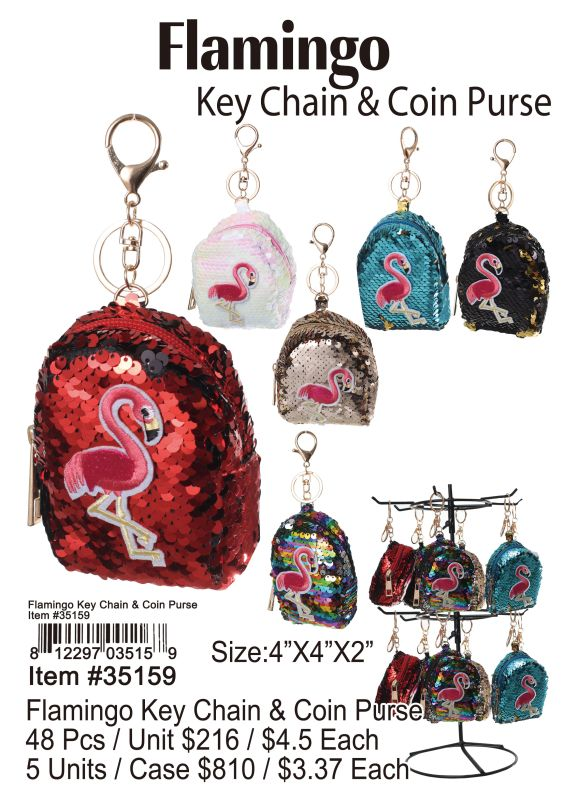 Flamingo Key Chain & Coin Purse - 48 Pieces Unit
