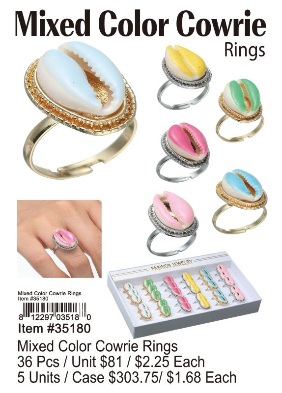 Mixed Color Cowrie Rings Wholesale