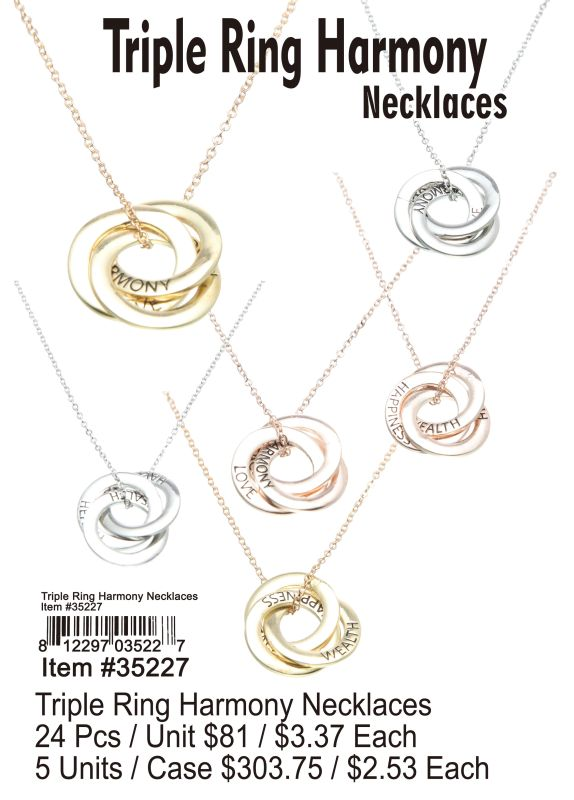 Triple Ring Harmony Necklaces - 24 Pieces Unit