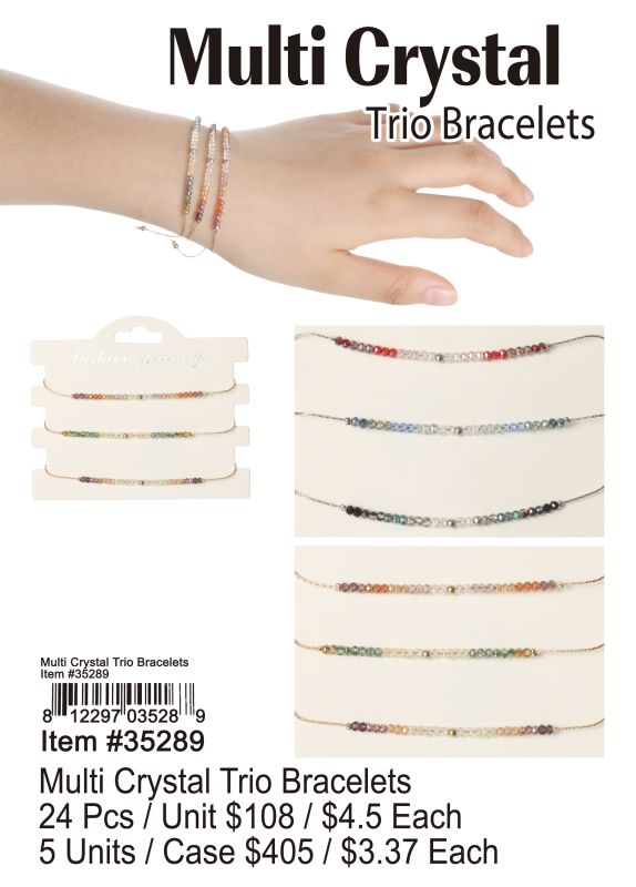 Multi Crystal Trio Bracelets - 24 Pieces Unit