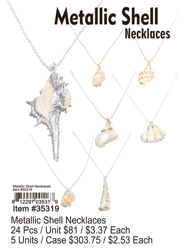 Metallic Shell Necklaces - 24 Pieces Unit