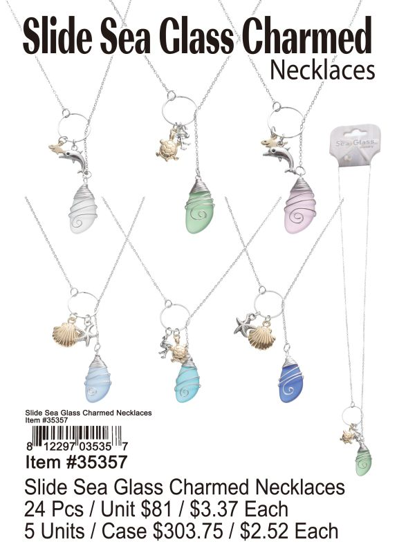 Slide Sea Glass Charmed Necklace - 24 Pieces Unit