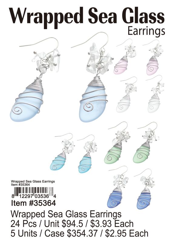 Wrapped Sea Glass Earrings - 24 Pieces Unit