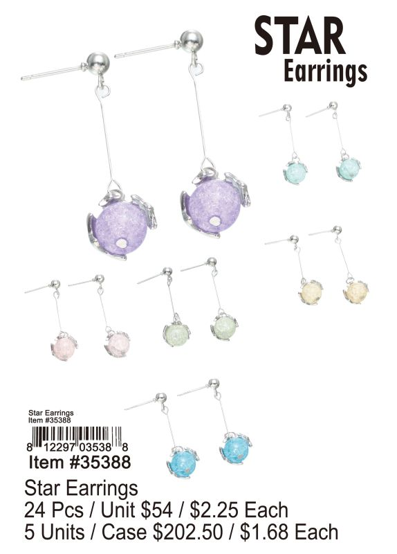 Star Earrings - 24 Pieces Unit