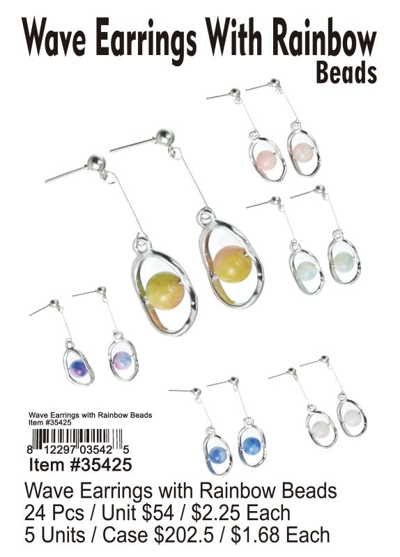 Wave Earrings With Rainbow Beads - 24 Pieces Unit