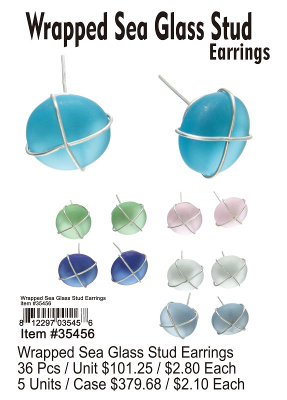 Wrapped Sea Glass Stud Earring - 36 Pieces Unit