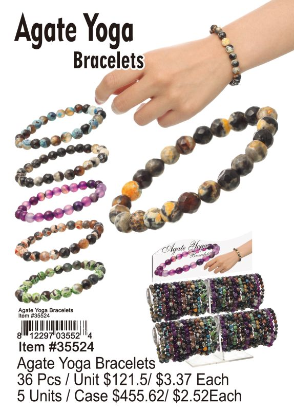 Agate Yoga Bracelets - 36 Pieces Unit