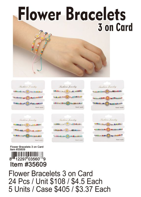 Flower Bracelets 3 on Card Wholesale