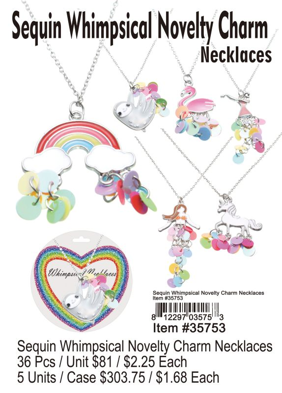 Sequin Whimpsical Novelty Charm Necklaces - 36 Pieces Unit