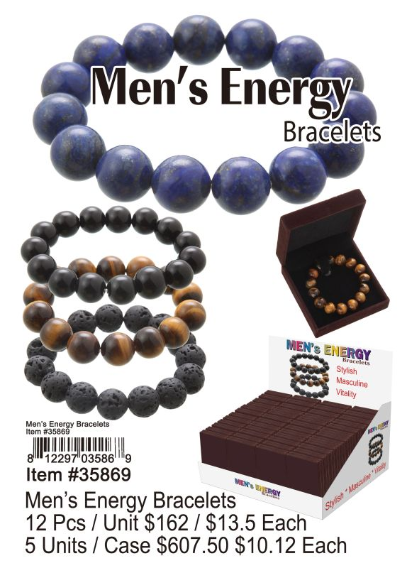 Mens Energy Bracelets - 12 Pieces Unit