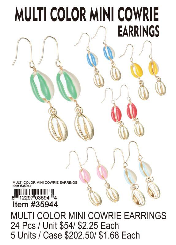 Multi Color Mini Cowrie Earrings - 24 Pieces Unit