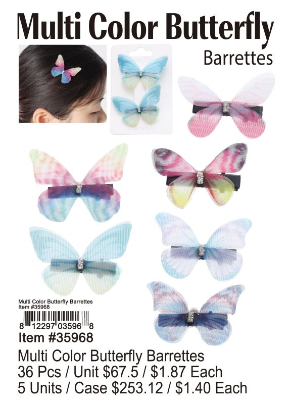 Multi Color Butterfly Barrettes - 36 Pieces Unit
