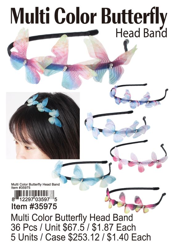 Multi Color Butterfly Head Band - 36 Pieces Unit
