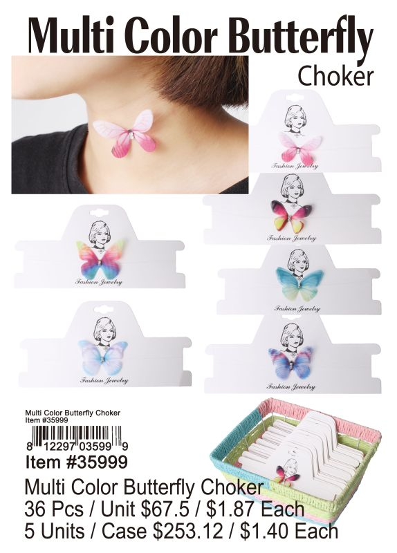 Multi Color Butterfly Choker Wholesale