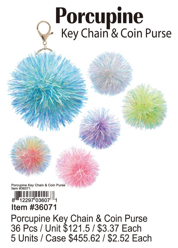 Porcupine Key Chain & Coin Purse - 36 Pieces Unit