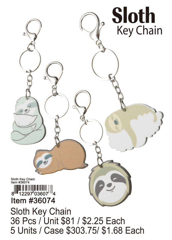 Sloth Key Chain - 36 Pieces Unit