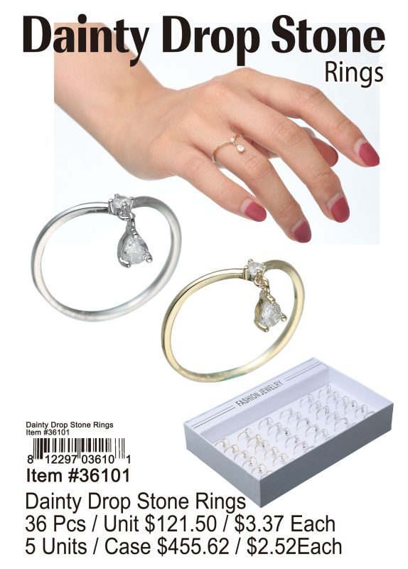 Dainty Drop Stone Rings - 36 Pieces Unit