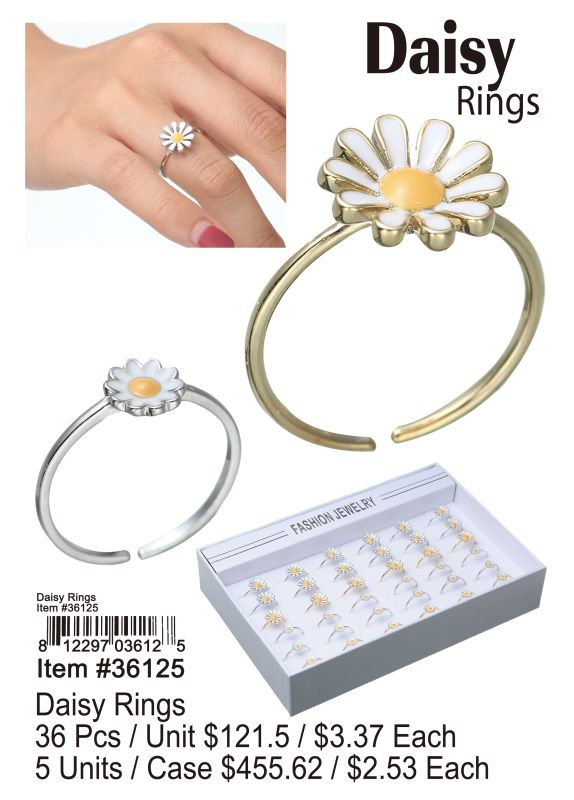Daisy Rings - 36 Pieces Unit
