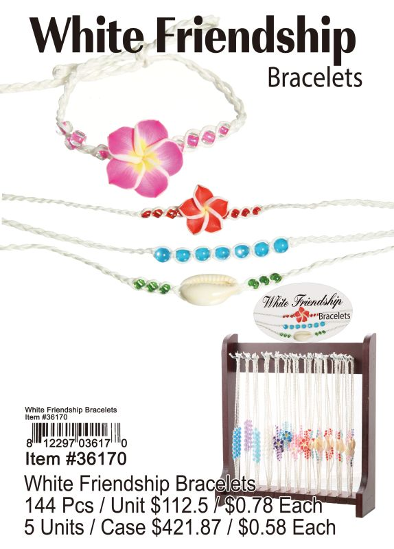 White Friendship Bracelets - 144 Pieces Unit