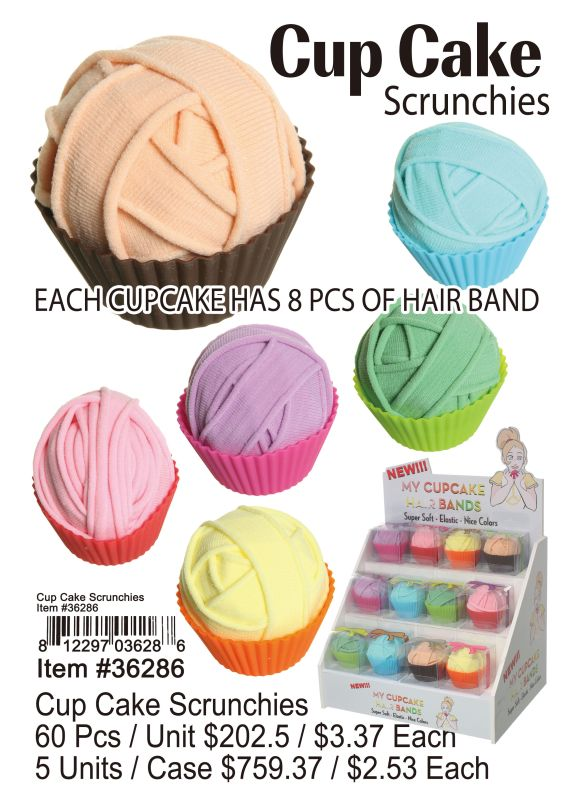 Cup Cake Scrunchies - 60 Pieces Unit