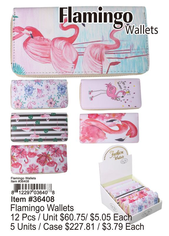 Flamingo Wallets - 12 Pieces Unit