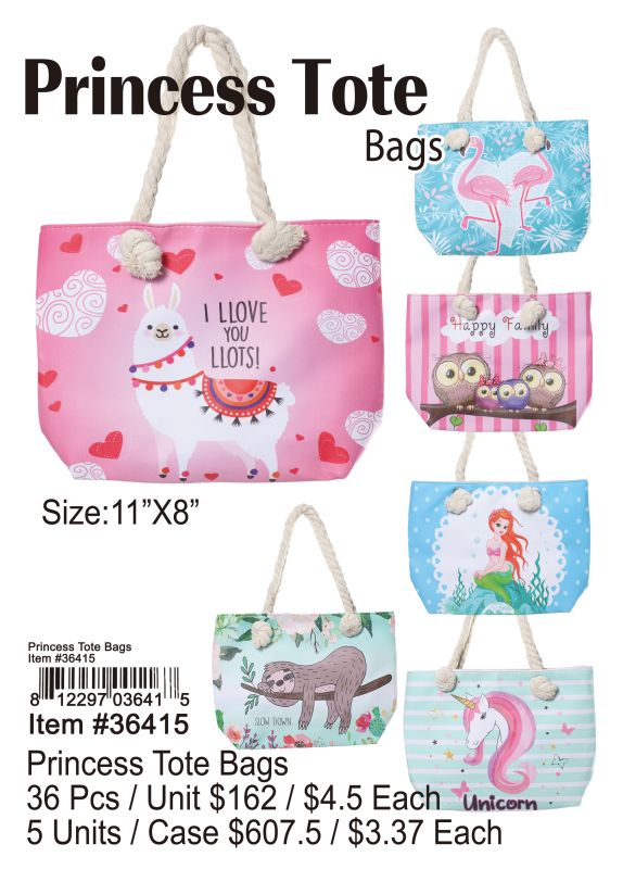 Princess Tote Bags - 36 Pieces Unit
