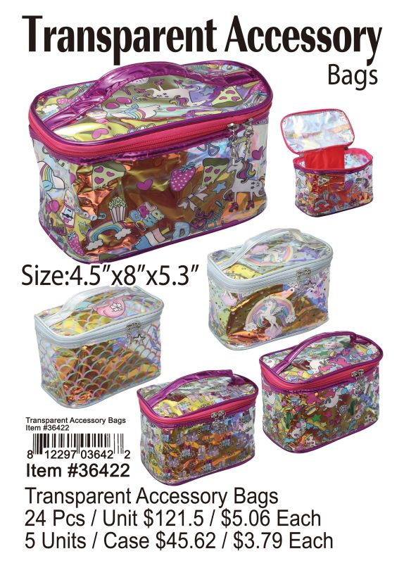 Transparent Accessory Bags - 24 Pieces Unit