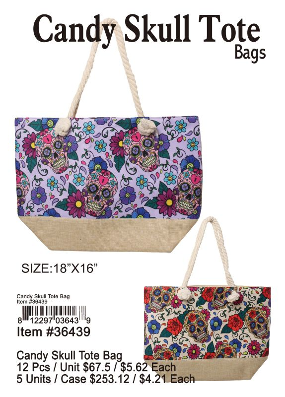 Candy Skull Tote Bags - 12 Pieces Unit