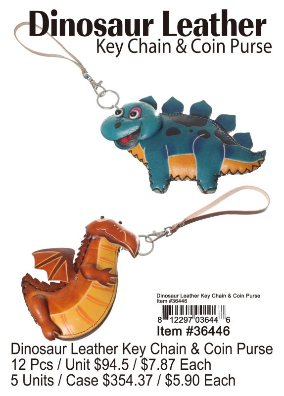 Dinosaur Leather Key Chain & Coin Purse - 12 Pieces Unit