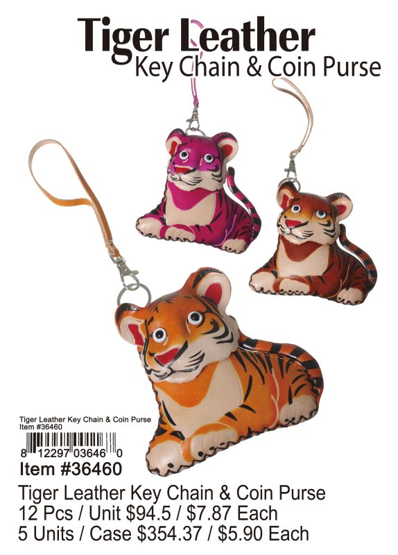 Tiger Leather Key Chain & Coin Purse - 12 Pieces Unit