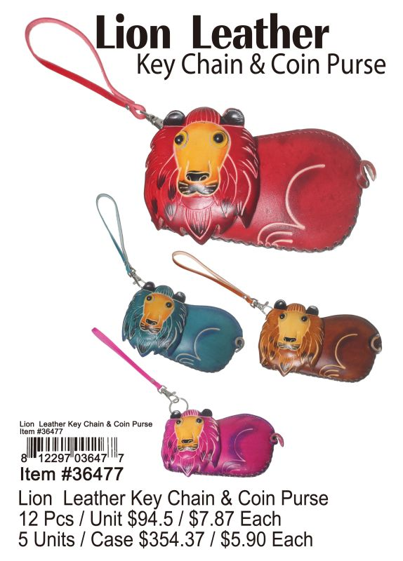 Lion Leather Key Chain & Coin Purse - 12 Pieces Unit