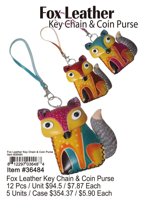 Fox Leather Key Chain & Coin Purse - 12 Pieces Unit