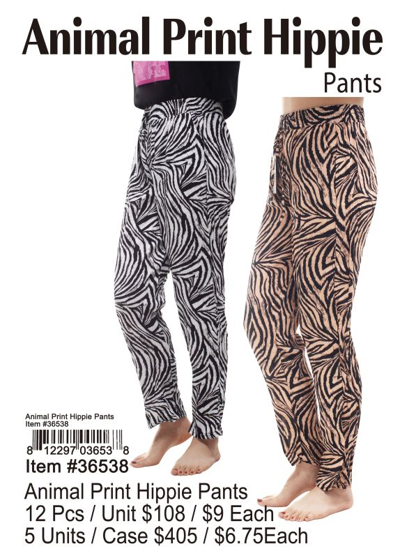 Animal Print Hippie Pants - 12 Pieces Unit