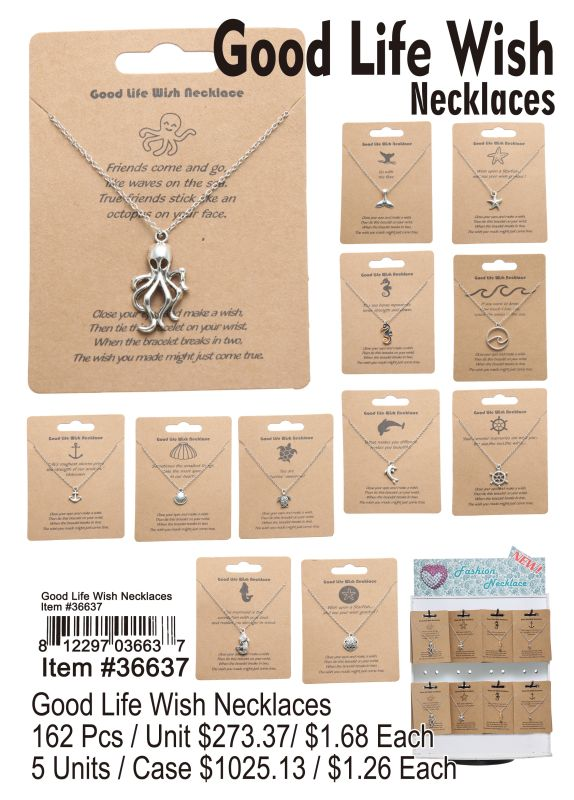 Good Life Wish Necklaces - 162 Pieces Unit
