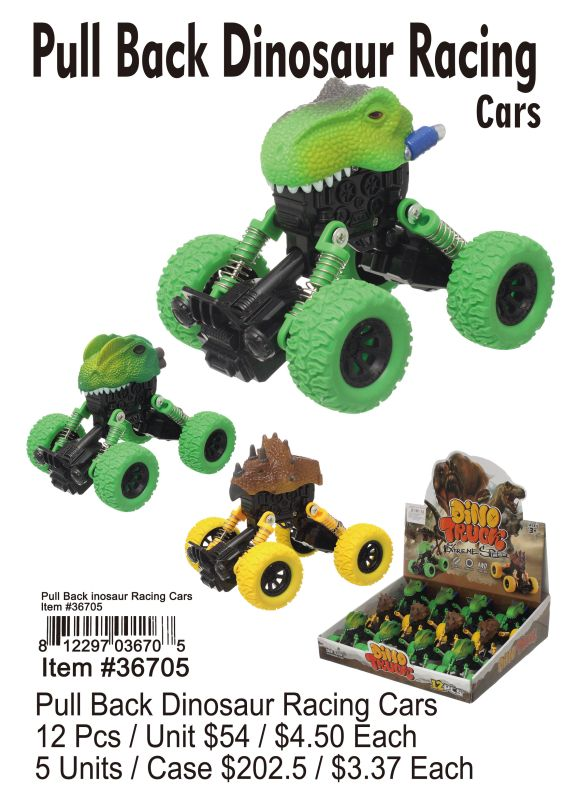 Pull Back Dinosaur Racing Cars - 12 Pieces Unit