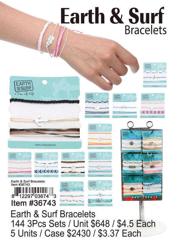Earth & Surf Bracelets - 144 Pieces Unit