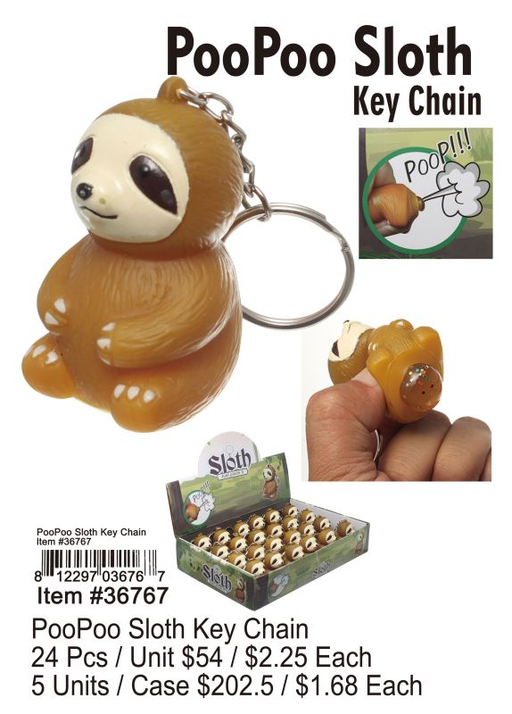 Poopoo Sloth Key Chain - 24 Pieces Unit