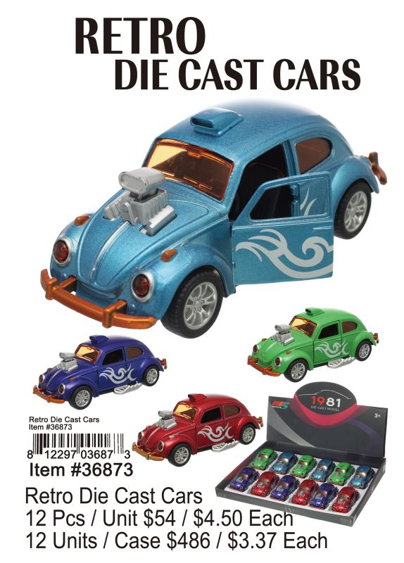 Retro Die Cast Cars - 12 Pieces Unit