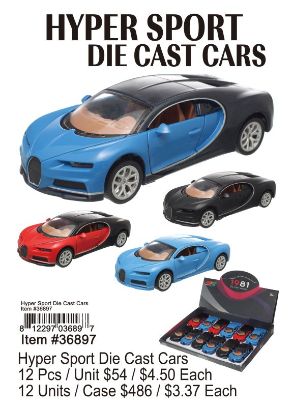 Hyper Sport Die Cast Cars - 12 Pieces Unit