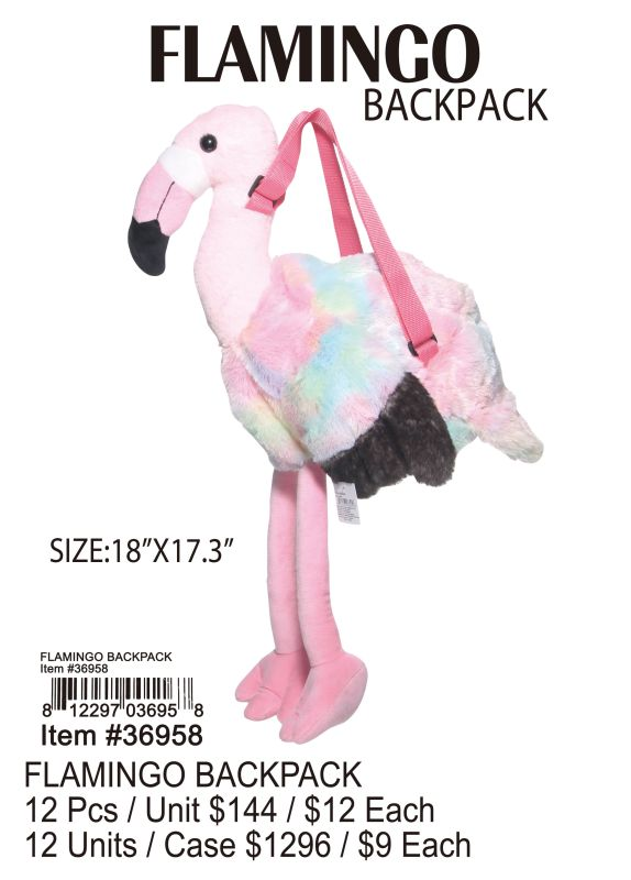 Flamingo Backpack - 12 Pieces Unit
