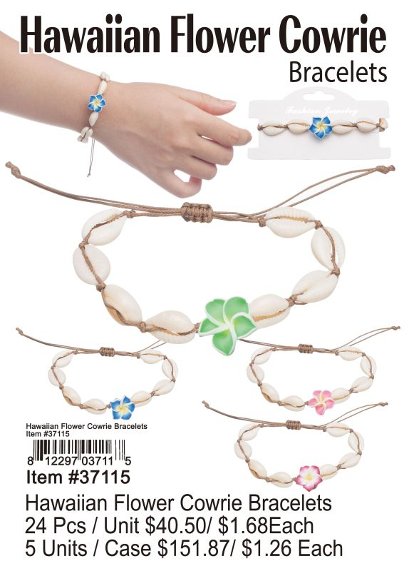 Hawaiian Flower Cowrie Braclets - 24 Pieces Unit
