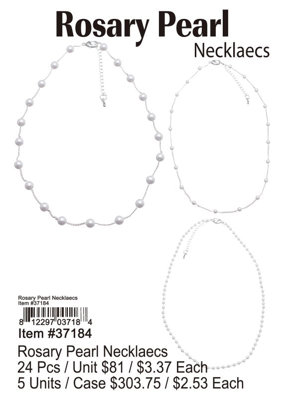Rosary Pearl Necklaces - 24 Pieces Unit